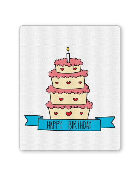 Mouse Pads | Happy Bithday Cake Illustration Mouse Pad Online India | PosterGuy.in