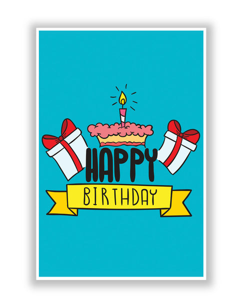 Buy Posters Online | Happy Birthday Gift And Cake Illustration Poster | PosterGuy.in