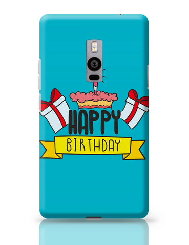 OnePlus Two Covers | Happy Birthday Gift And Cake Illustration OnePlus Two Cover Online India