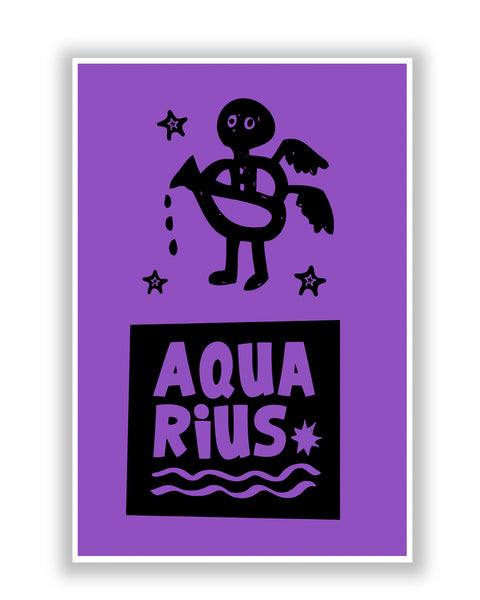 Buy Posters Online | Aquarius Dark Purple | Zodiac Sign Gifts  Poster | PosterGuy.in