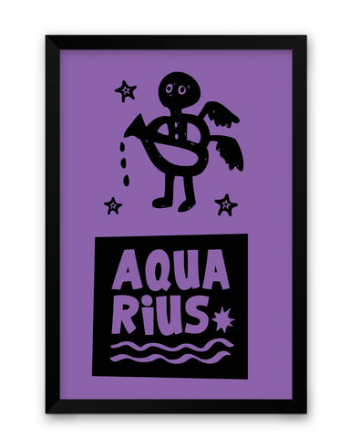 Aquarius Dark Purple | Zodiac Sign Gifts  Framed Poster Online India