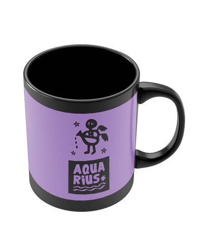 Black Coffee Mugs | Aquarius Dark Purple | Zodiac Sign Gifts Black Coffee Mug Online India