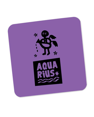 Aquarius Dark Purple | Zodiac Sign Gifts  Coaster Online India