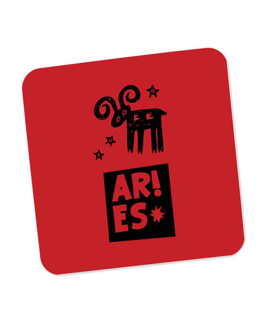 Aries Red | Zodiac Sign Gifts  Coaster Online India