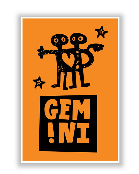 Buy Posters Online | Gemini Orange | Zodiac Sign Gifts  Poster | PosterGuy.in