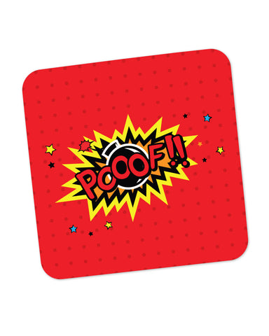 Pooof Comic Sound Quirky Illustration Coaster Online India