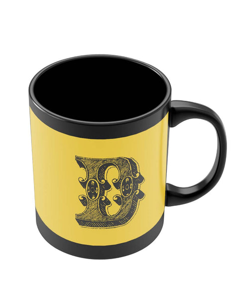 Black Coffee Mugs | Alphabet D Black Coffee Mug Online India
