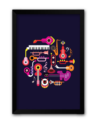Framed Posters | Music Flat Abstract Art Laminated Framed Poster Online India