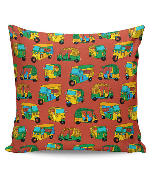 PosterGuy | Auto Rickshaw Quirky Pattern Cushion Cover Online India