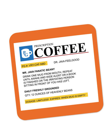 Coasters | Coffee Prescription | Humor Coaster 1014158329 Online India | PosterGuy.in