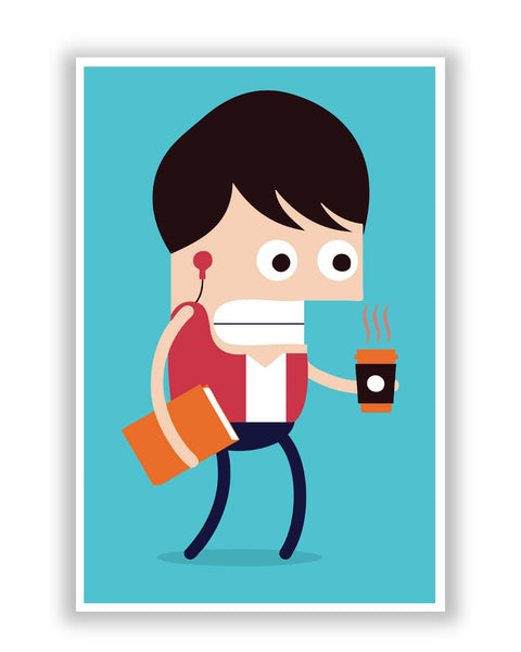 Posters Online | Getting Late Coffee In Hand Poster Online India | Designed by: Mayank Dhawan