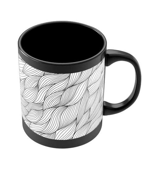 Coffee Mugs Online | Dream's Swirl Line Art Black Coffee Mug Online India
