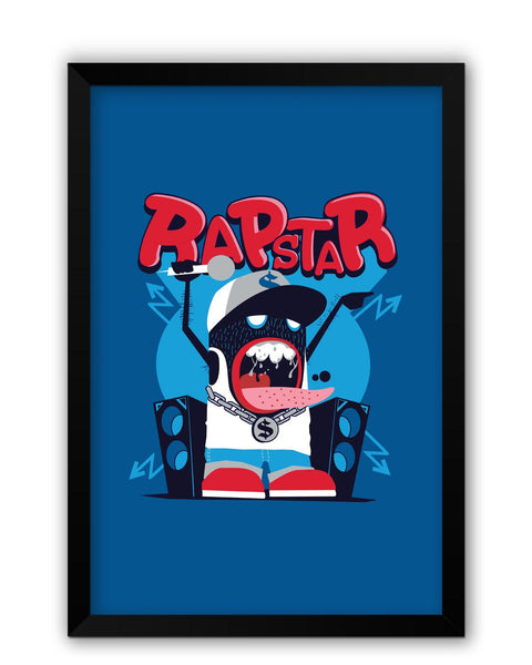 Framed Posters | Rapstar Quirky Illustration Laminated Framed Poster Online India
