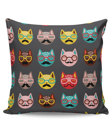 PosterGuy | Quirky Moustache Cats Pattern Cushion Cover Online India