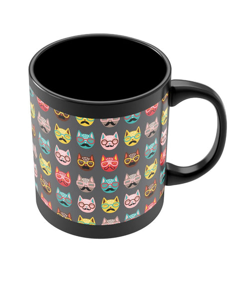 Coffee Mugs Online | Quirky Moustache Cats Pattern Black Coffee Mug Online India
