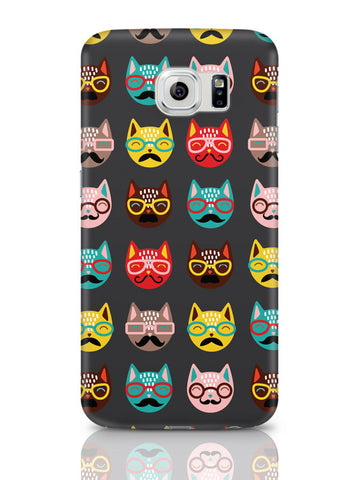 Samsung Galaxy S6 Covers & Cases | Quirky Moustache Cats Pattern Samsung Galaxy S6 Covers & Cases Online India