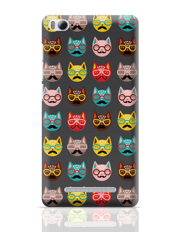 Xiaomi Mi 4i Covers | Quirky Moustache Cats Pattern Xiaomi Mi 4i Cover Online India