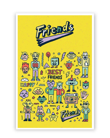 Posters Online | Friends Doodle Illustration Poster Online India | Designed by: Mayank Dhawan