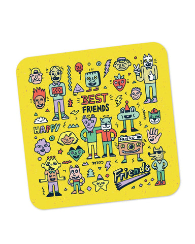 Buy Coasters Online | Friends Doodle Illustration Coaster Online India | PosterGuy.in