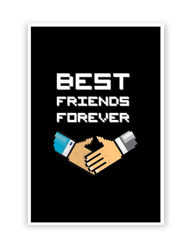 Posters Online | Best Friends Forever Pixel Art Poster Online India | Designed by: Mayank Dhawan