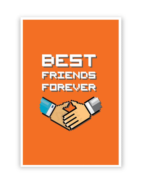 Posters Online | Best Friends Forever Pixel Art (Orange) Poster Online India | Designed by: Mayank Dhawan