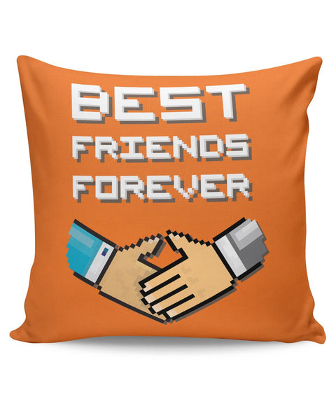 PosterGuy | Best Friends Forever Pixel Art (Orange) Cushion Cover Online India