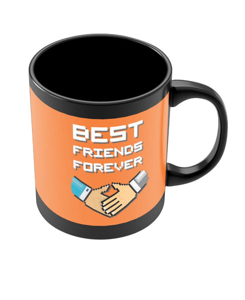 Coffee Mugs Online | Best Friends Forever Pixel Art (Orange) Black Coffee Mug Online India