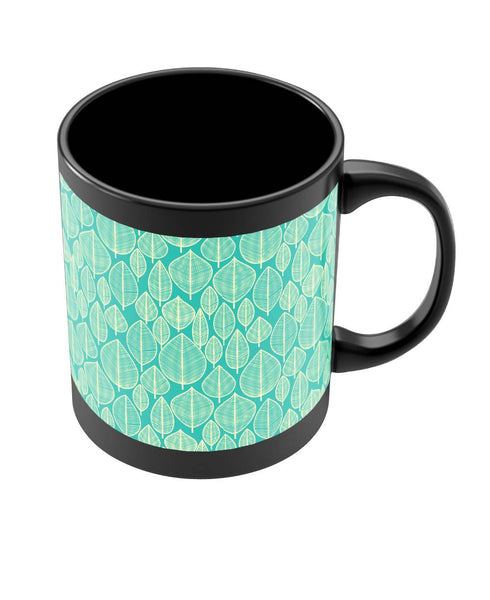 Coffee Mugs Online | Vintage Leaf Pattern Black Coffee Mug Online India
