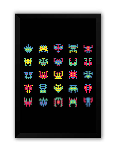 Framed Posters | 8 Bit Creatures Quirky Laminated Framed Poster Online India