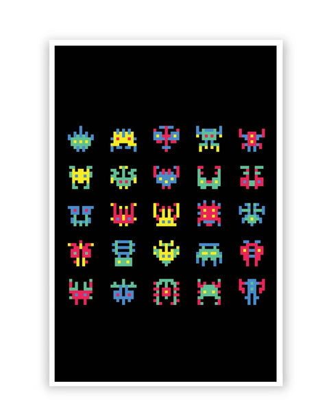 Posters Online | 8 Bit Creatures Quirky Poster Online India | Designed by: Mayank Dhawan