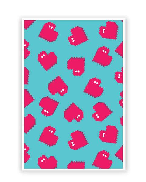 Posters Online | Hearts Quirky Pixel Art Pattern Poster Online India | Designed by: Mayank Dhawan