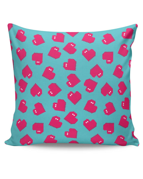 PosterGuy | Hearts Quirky Pixel Art Pattern Cushion Cover Online India