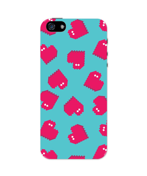iPhone 5 / 5S Cases & Covers | Hearts Quirky Pixel Art Pattern iPhone 5 / 5S Case Online India