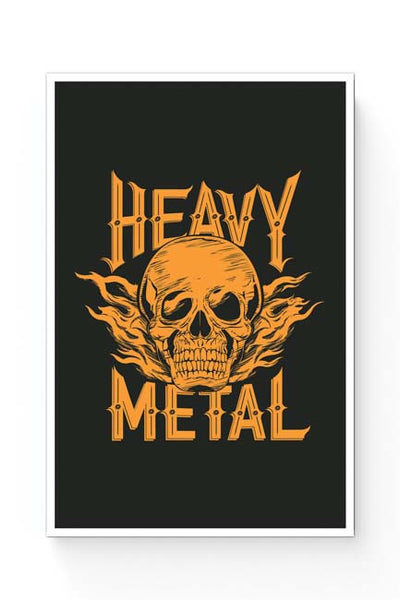Posters Online | Heavy Metal Skull Illustration (Orange) Poster Online India | Designed by: Mayank Dhawan