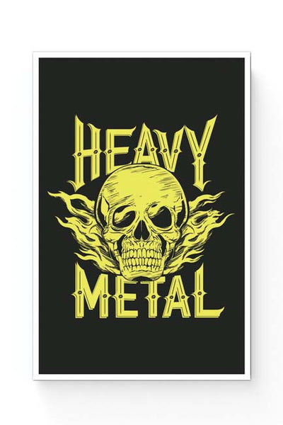 Posters Online | Heavy Metal Skull Illustration (Yellow) Poster Online India | Designed by: Mayank Dhawan