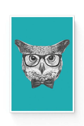 Posters Online | Mr Owl (Blue) Illustration Poster Online India | Designed by: Mayank Dhawan