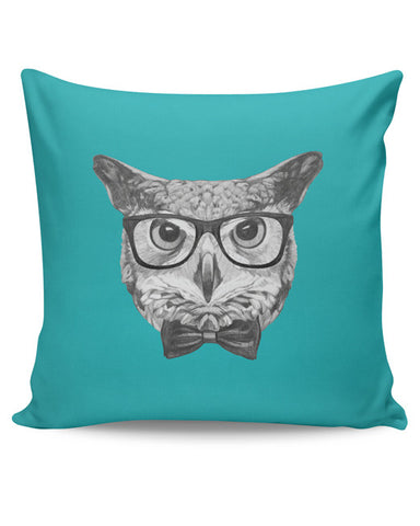 PosterGuy | Mr Owl (Blue) Illustration Cushion Cover Online India
