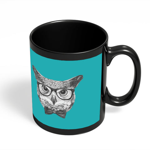 Coffee Mugs Online | Mr Owl (Blue) Illustration Black Coffee Mug Online India