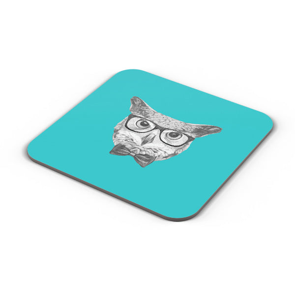 Buy Coasters Online | Mr Owl (Blue) Illustration Coaster Online India | PosterGuy.in
