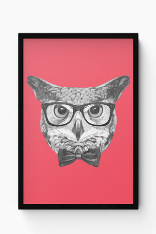 Framed Posters Online India | Mr Owl (Red) Illustration Laminated Framed Poster Online India