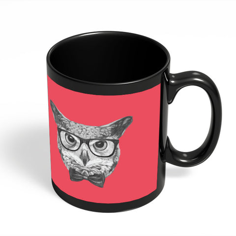 Coffee Mugs Online | Mr Owl (Red) Illustration Black Coffee Mug Online India