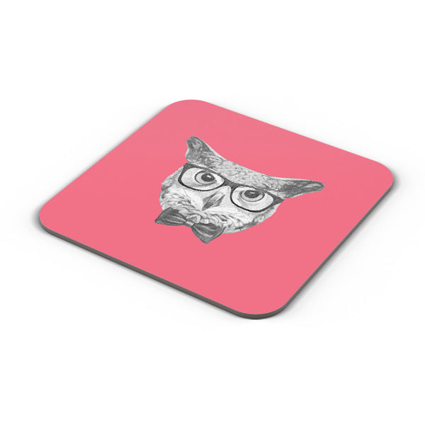 Buy Coasters Online | Mr Owl (Red) Illustration Coaster Online India | PosterGuy.in