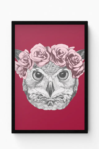 Framed Posters Online India | Ms Owl (Red) Illustration Laminated Framed Poster Online India