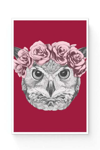 Posters Online | Ms Owl (Red) Illustration Poster Online India | Designed by: Mayank Dhawan