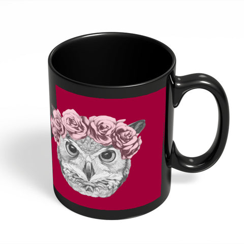Coffee Mugs Online | Ms Owl (Red) Illustration Black Coffee Mug Online India