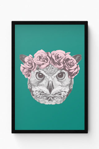 Framed Posters Online India | Ms Owl (Blue) Illustration Laminated Framed Poster Online India