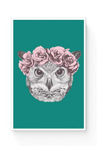 Posters Online | Ms Owl (Blue) Illustration Poster Online India | Designed by: Mayank Dhawan
