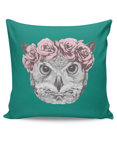 PosterGuy | Ms Owl (Blue) Illustration Cushion Cover Online India