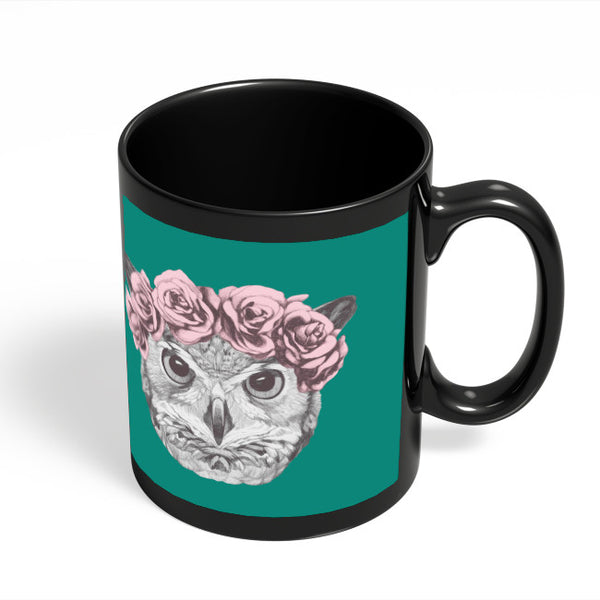 Coffee Mugs Online | Ms Owl (Blue) Illustration Black Coffee Mug Online India