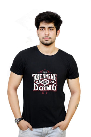 Buy Stop Dreaming Start Dreaming | Motivational  T-Shirts Online India | Stop Dreaming Start Dreaming | Motivational  T-Shirt | PosterGuy.in